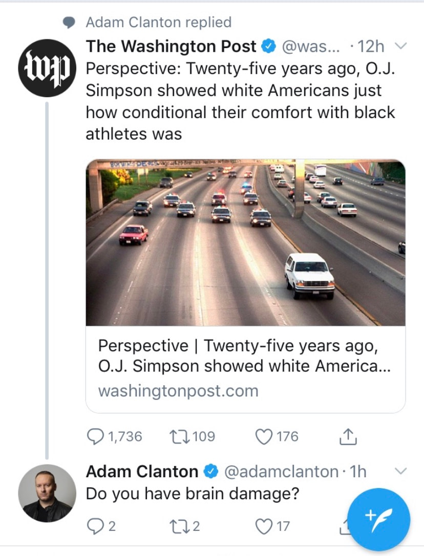 Idiot Washington Post reporter tries to race bait.