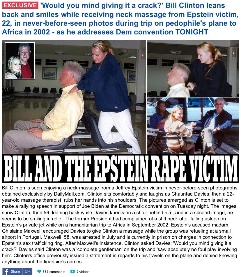 Epstein Victim Gives Bill Clinton Massage
